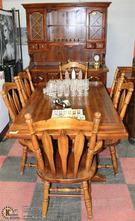 pine dining room set incls hutch serving table 6