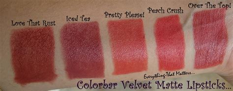 rust colored l shades colorbar matte lipstick all shades the art of beauty