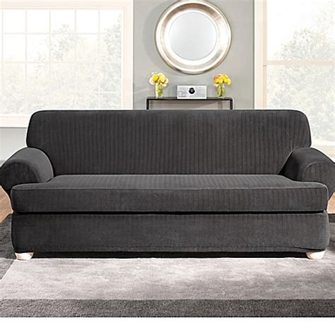 Sure Fit 174 Stretch Pinstripe 2 Piece T Cushion Sofa T Cushion Sofa Slipcovers 2