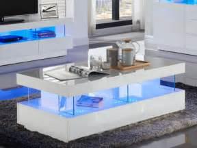 table basse fabio mdf laqu 233 blanc leds 2 tiroirs