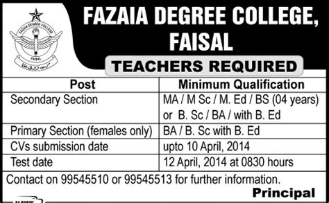 karachi university degree section fazaia degree college faisal karachi jobs 2014 april for