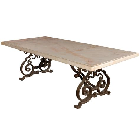 Wrought Iron Dining Tables Late 19th C Mediterranean Marble Top Wrought Iron Dining