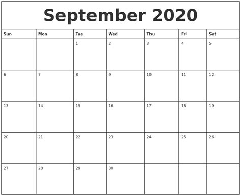 printable monthly calendars with pictures september 2020 printable monthly calendar
