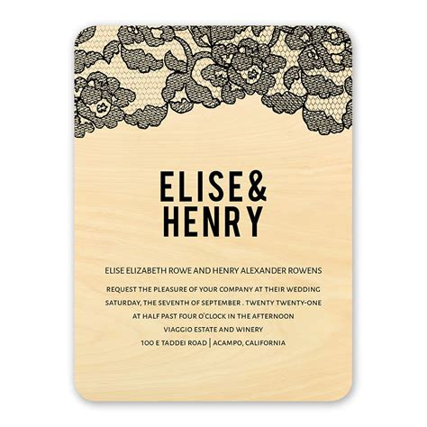 Wedding Invitations Vintage Lace by Vintage Lace Real Wood Invitation Invitations By