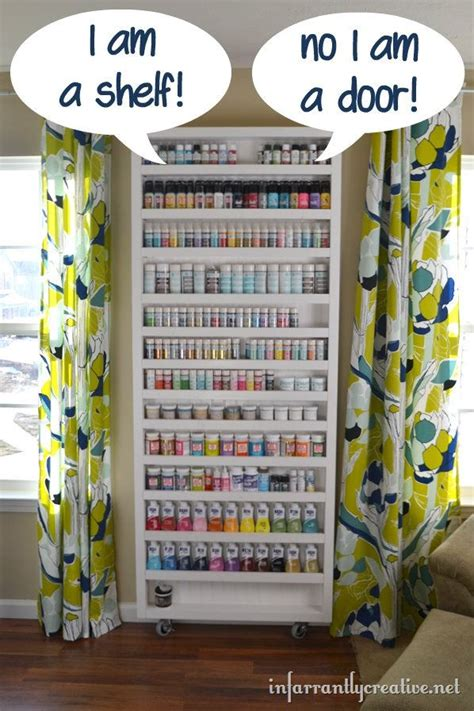 diy craft organizing ideas paint shelf with door door storage ironing boards and storage