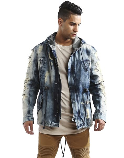 Parasit New Style Jaket Edition 88 smoke rise s ripped detail denim fishtail parka jacket ebay