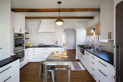 black and white kitchen backsplash black kitchen island with white and gray granite