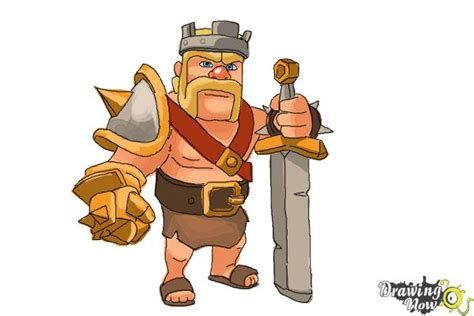 Clash Of Clans King how to draw clash of clans barbarian king drawingnow
