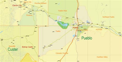 map of colorado vector printable map state colorado us main roads admin 10 ai pdf 7