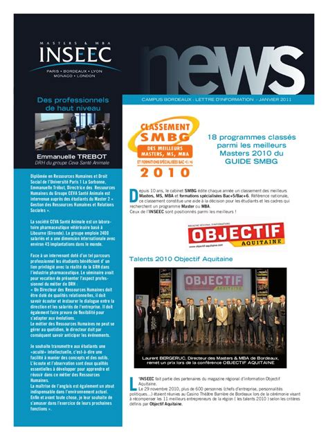 Mba Newsletter by Inseec Masters Mba Newsletter Bordeaux Janvier 2011 By
