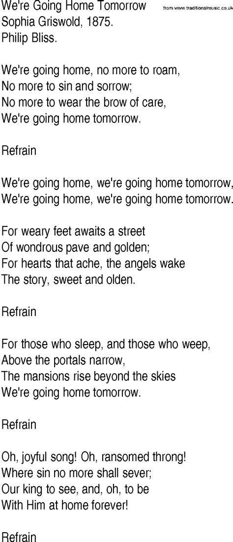 hymn and gospel song lyrics for we re going home tomorrow