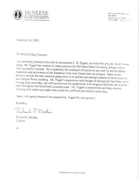 Recommendation Letter Architecture Letters Of Recommendation Cr Fugatt Architect