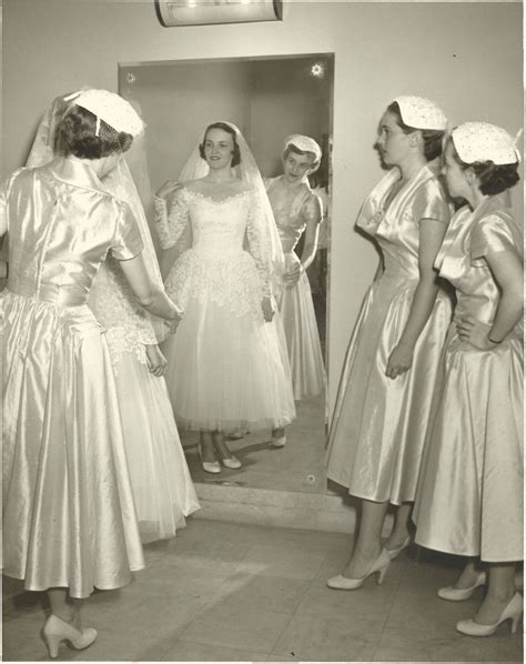 Bride and attendants, 1952   Old Fashion   Wedding