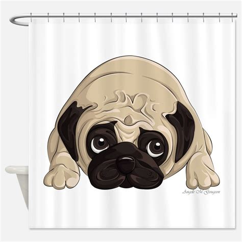 pug shower curtain pugs shower curtains pugs fabric shower curtain liner