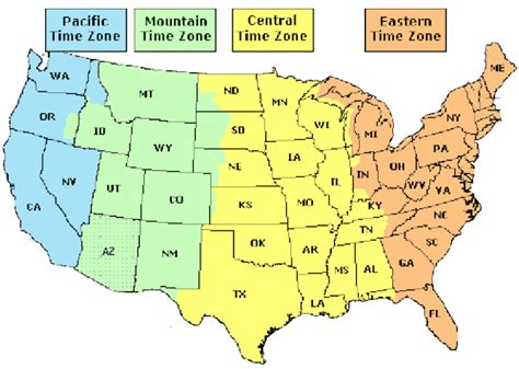 united states map of time zones services