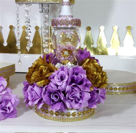 Girls Princess Baby Shower Centerpiece With Lavender Gold Princess Centerpieces For Baby Shower