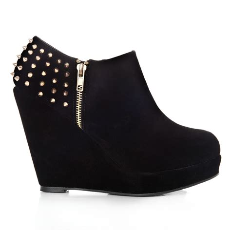 platform wedge high heeled ankle shoe boots with studs