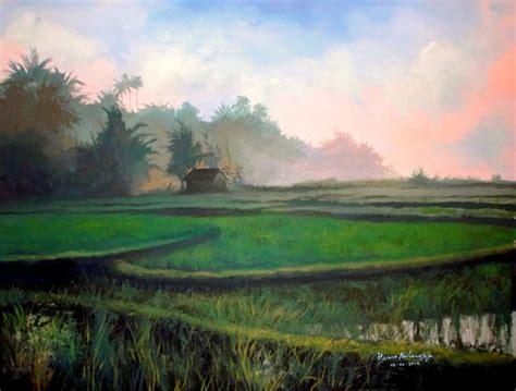 Lukisan Tanam Padi dunia lukisan javadesindo gallery gt gt lukisan pagi hari berkabut disuasana persawahan alam desa