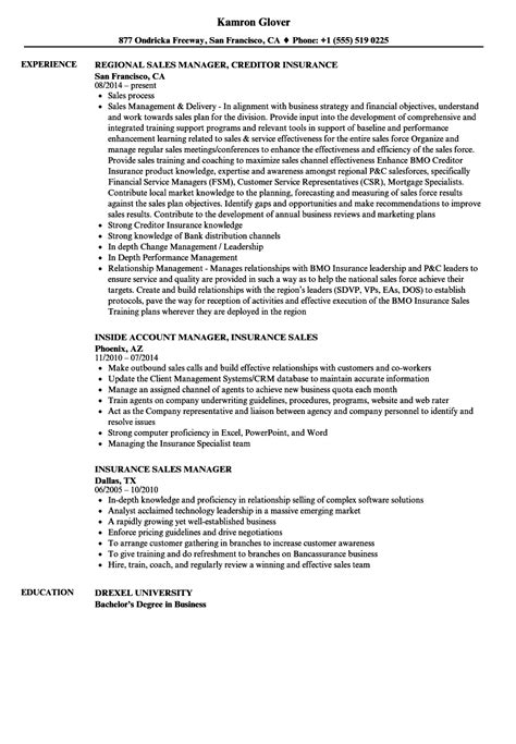Insurance Sales Resume by Insurance Sales Manager Resume Sles Velvet