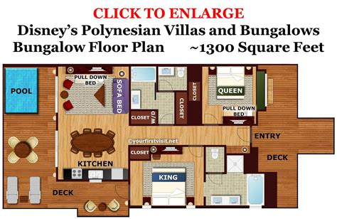 disney vacation club floor plans photo tour of a bungalow at disney s polynesian village