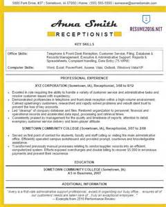 Exles Of Resumes For Receptionist by Receptionist Resume Exles 2016