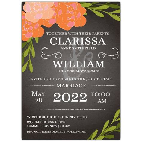 floral chalkboard wedding invitations paperstyle