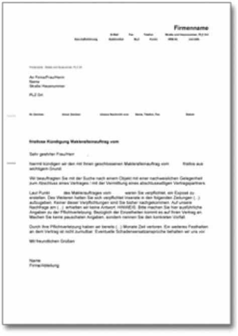 Musterbrief Beschwerde Auto K 252 Ndigung Makleralleinauftrag Fristlos