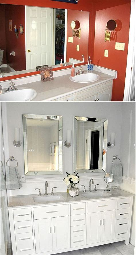 redo small bath ideas everything also behind mirror wall ideas before and after small bathroom makeovers big on style