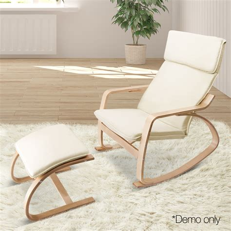 Rocking Garden Stool by Rocking Chair With Foot Stool Beige Deal Catcher