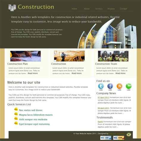 free website construction template free construction company web site template templates