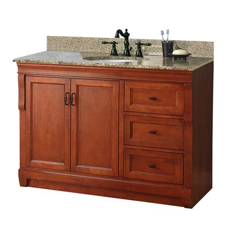 Foremost Granite Vanity Top foremost naples 49 in w x 22 in d vanity with right drawers in warm cinnamon with granite