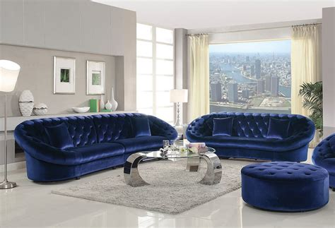 Royal Blue Furniture | oversized royal blue velvet sofa love seat caravana
