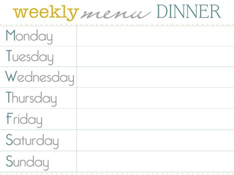 8 best images of dinner menu planner template printable