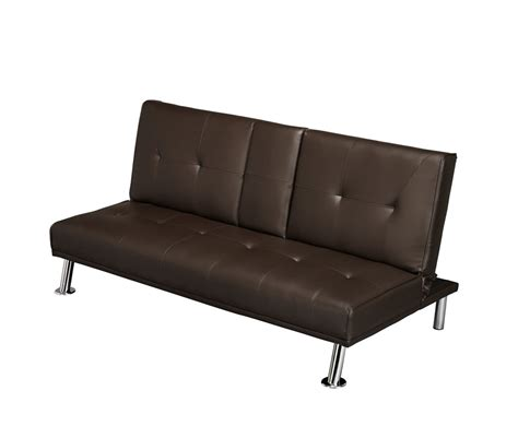 brown faux leather sofa cinema 109cm brown faux leather clic clac sofa bed