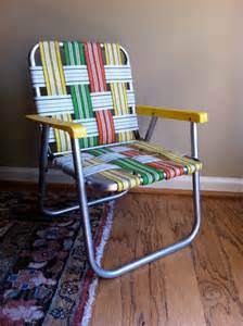 Aluminum Chair Webbing Vintage Childs Lawn Chair Aluminum Orange Yellow Green On Sale