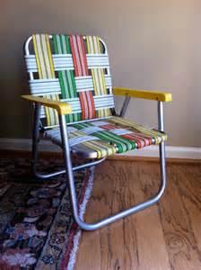 Vintage childs lawn chair aluminum orange yellow by junkyardgenes