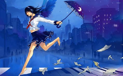anime girl in the rain wallpaper school girl running in the rain wallpaper anime
