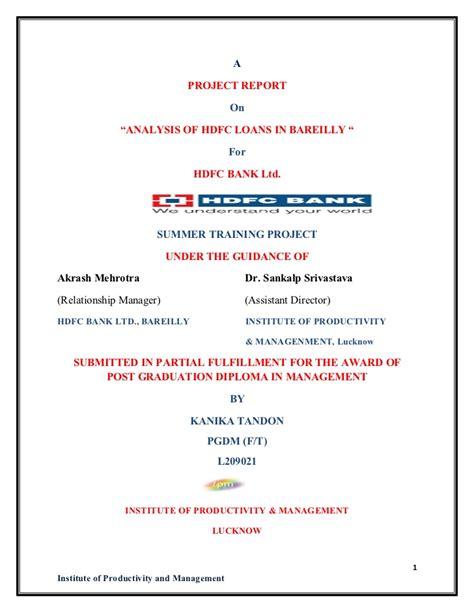 Mba Finance Internship In Hdfc Bank by Kanika Tandon Hdfc Bank Ltd Summer Internship Project