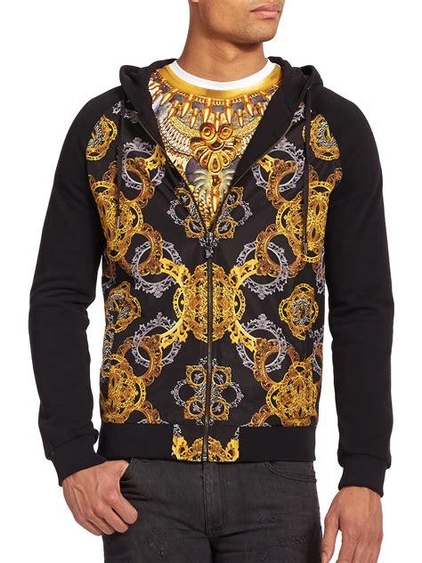 versace baroque print hoodie in black for lyst