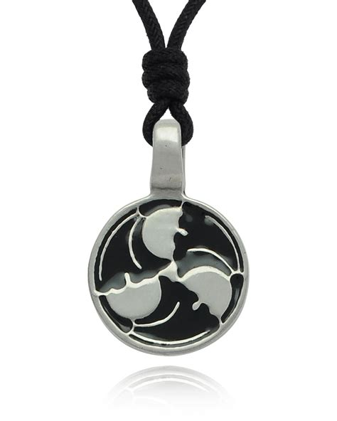 Spiral Silver Necklaces trilogy wave spiral silver pewter charm necklace pendant