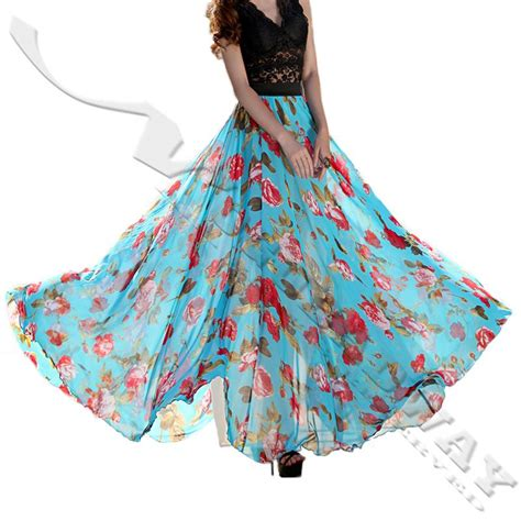a full length printed skirt gets a touch of luxe via a plus size 2015 summer chiffon long skirts for women floor