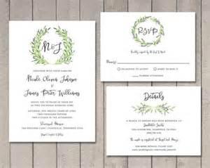 Laurel wedding invitation rsvp details card printable by vintage