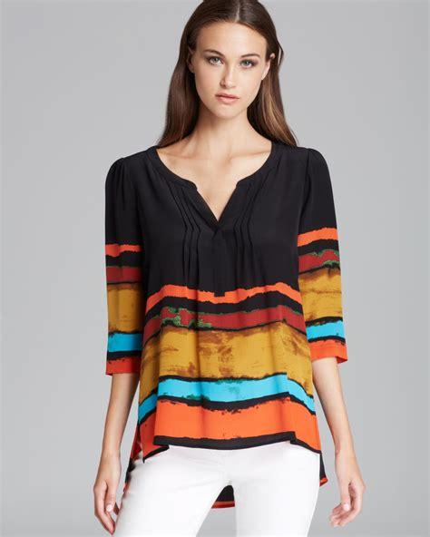 Kemeja Blouse Stripe Bordir Cantik plenty by tracy reese quotation blouse painted stripe peasant kurta in multicolor border stripe