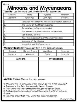 Minoans And Mycenaeans Worksheet