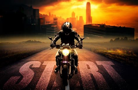 riding  motorcycle slowly