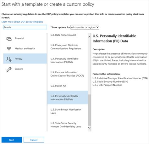 Create A Dlp Policy From A Template Office 365 Create Policy Template