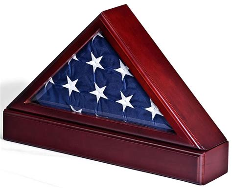 flag cases large triangle with pedestal flag mahogany finish w pedestal base