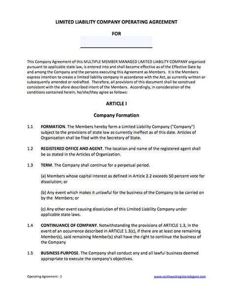 Blank Operating Agreement For Llc White Gold Llc Membership Agreement Template