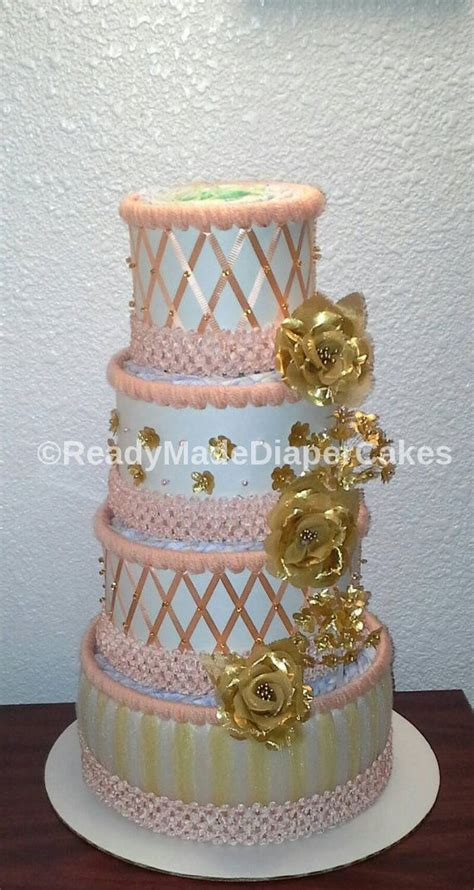 Peach and Gold Diaper Cakes , Baby Girl Shower Centerpiece
