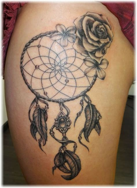 dreamcatcher and rose tattoo dreamcatcher on left thigh jpg 736 215 1008